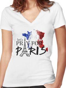 let's pray for paris Women's Fitted V-Neck T-Shirt
