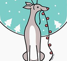 Greyhound Waiting For Santa  by zoel