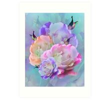 Pastel And Pink Tones Roses Photo Manipulation Art Print