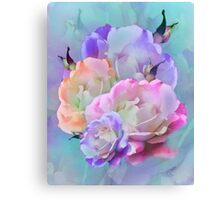 Pastel And Pink Tones Roses Photo Manipulation Canvas Print
