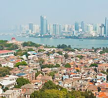 Xiamen view from Gulangyu Island, China.  by kawing921