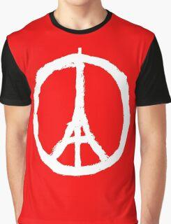 Peace, Pray For Paris White Graphic T-Shirt