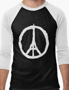 Peace, Pray For Paris White Men's Baseball ¾ T-Shirt