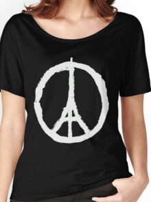 Peace, Pray For Paris White Women's Relaxed Fit T-Shirt