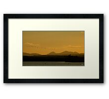 Geese over Derryveagh mountains at Twilight Framed Print
