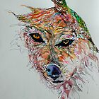 Wolf and Hummingbird by BevsArtCreation