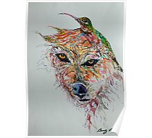 Wolf and Hummingbird Poster