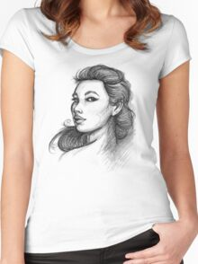 Beautiful Woman Artist Pencil Sketch 1 Women's Fitted Scoop T-Shirt