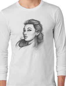 Beautiful Woman Artist Pencil Sketch 1 Long Sleeve T-Shirt