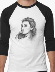 Beautiful Woman Artist Pencil Sketch 1 Men's Baseball ¾ T-Shirt