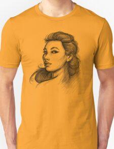 Beautiful Woman Artist Pencil Sketch 1 T-Shirt