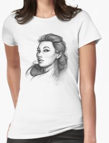 Beautiful Woman Artist Pencil Sketch 1 Womens Fitted T-Shirt