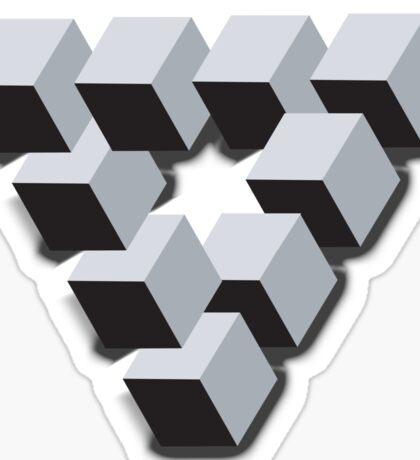 ILLUSION, Optical illusion, visual illusion, weird, odd, Cube, triangle Sticker