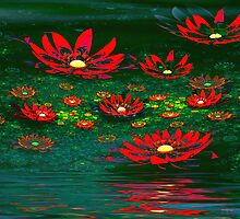 Flowers by the Pond by Pam Amos