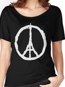 Eiffel Tower Peace Sign White Women's Relaxed Fit T-Shirt
