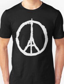 Eiffel Tower Peace Sign White Unisex T-Shirt
