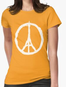 Eiffel Tower Peace Sign White Womens Fitted T-Shirt