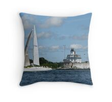 Sailing by Rose Island Throw Pillow