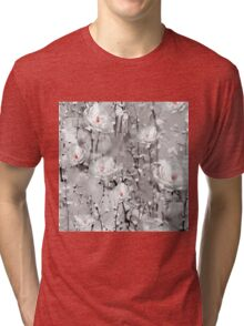 Modern Painted Winter Flowers Pattern Tri-blend T-Shirt