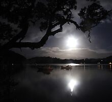 Once in a Blue Moon over Whangaroa Harbour  by Tony Foster