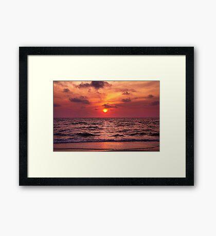 Tropical Sunset Beach Framed Print
