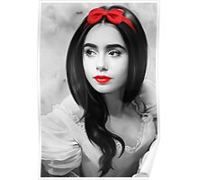 Lily Collins with red lips Poster