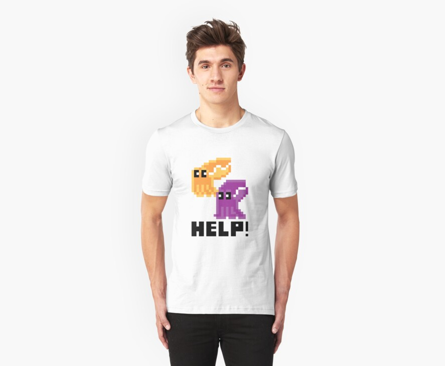 Help! Save the Cuttlefish! Cute Pixel Art Shirt by Dan & Emma Monceaux