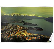 Beautiful Queenstown At Dusk. South Island, New Zealand. Poster