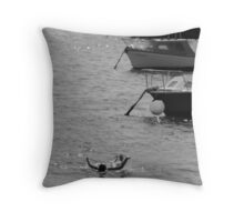 By the boats Throw Pillow