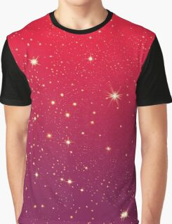 Bright Sparkly Stars Red to Mauve Gradient Graphic T-Shirt