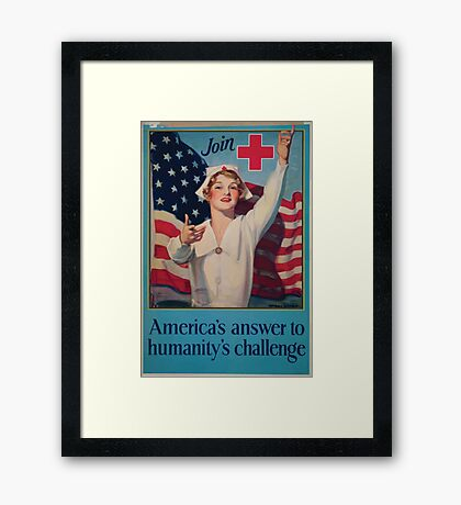 Join Red Cross symbol Americas answer to humanitys challenge Framed Print