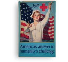 Join Red Cross symbol Americas answer to humanitys challenge Canvas Print