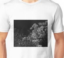Edelweiss Flowers by Moonlight in Black and White Unisex T-Shirt