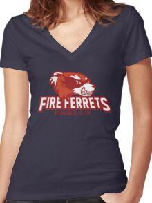 Republic City Fire Ferrets Women's Fitted V-Neck T-Shirt