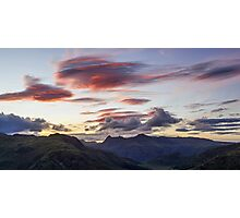 Red Skies over The Langdale Pikes Photographic Print