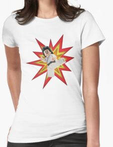 Karate Kick Womens Fitted T-Shirt