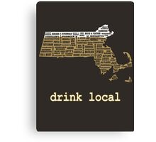 Drink Local - Massachusetts Beer Shirt Canvas Print
