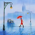 Woman with a red umbrella rainy day painting by gordonbruce