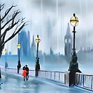 Rainy day in London red umbrella by gordonbruce