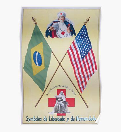 Symbolos da liberdade y da humanidade A Crux Vermelha Mãe de todas as nacões Poster