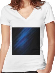 Wallpaper  Line Shadow Blue Black Women's Fitted V-Neck T-Shirt
