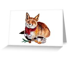 Coffee Fox Greeting Card