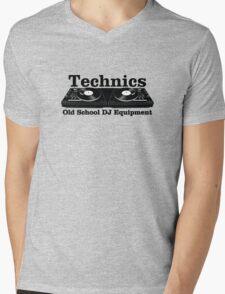 Technics Black Mens V-Neck T-Shirt