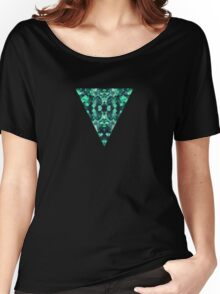 Abstract Surreal Chaos theory in Modern poison turquoise green Women's Relaxed Fit T-Shirt