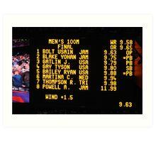The Scoreboard - Olympic Men 100 M Art Print