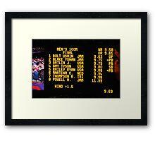 The Scoreboard - Olympic Men 100 M Framed Print