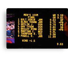 The Scoreboard - Olympic Men 100 M Canvas Print