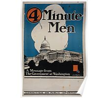 4 minute men a message from the government at Washington Committee on Public Information Poster