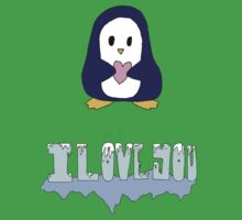 "Penguin says: ""I love you"" Kids Clothes"