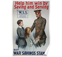 Help him win by saving and serving Buy War Savings Stamps 002 Poster